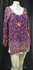 CAROLE LITTLE Silk gold Embellished Tunic Blouse shirt peasant top Size 6 S NEW
