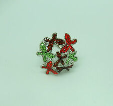 sparkly stones red green brown Fashion Ring stretch- Butterflies silver tone-