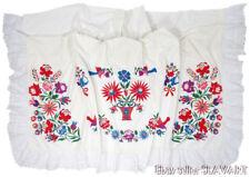 SLOVAK hand-embroidered peasant bed cover folk art textile MYSLAVA curtain sheet