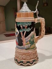 "Tall German Beer Stein Space for Music Box Pewter Lid 13"" Antique Perfect Japan"