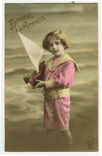c 1922 Cute Children CHILD w/ TOY BOAT Yacht tinted photo postcard