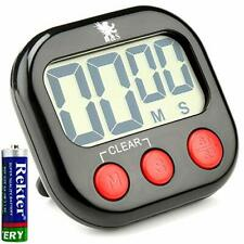 H&S Kitchen Digital Cooking Timer Magnetic Countdown Clock LCD Screen  - Black