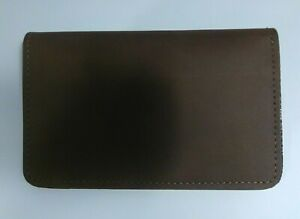 Genuine Leather Top Stub Checkbook Cover - Made in The USA - Brown
