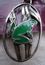 Sterling Silver Frog in Reeds w/ green enamel Pendant by Peter Stone-ted andrews