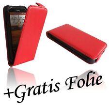 Displayfolie Folie + Klapp Tasche Handyhülle Chic für HTC Desire X in Rot