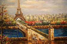 "36x48""(92x122 cm)100%Hand Painted Oil Flat, Street scene,High Quality,Creation"
