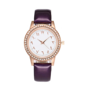 Arabic Numeral Watch with Purple Leather strap, Rose gold face, Diamante crystal