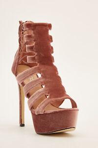BNWB Pink Velvet High Heel Party Gladiator Comfy Elastic Ankle Shoes-UK 5/EU 38