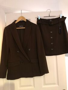 Ladies/Women's Suit Skirt and Jacket Brown Size 10 Brand New M&S Marks & Spencer