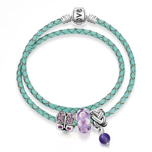 NEW MC Silver Pink Rhinestone Purple Murano Beads Mint Green Lace Charm Bracelet