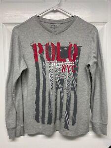 Ralph Lauren Polo Boys L/S New York City Bridge Graphic T-Shirt Tee: M, Gray