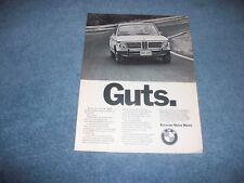 "1973 BMW 3.0 CS 2002 Vintage Ad ""Guts."""