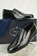 NIB PRADA BLACK UOMO PATENT LEATHER LETTERING LOGO LOAFERS 8 US 9 ITALY
