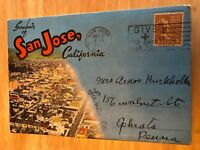 1945 Postmarked Souvenir Foldout Postcard San Jose California CA