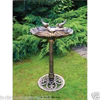 Antique Style Bronze Effect Double Bird Bath Garden Decoration