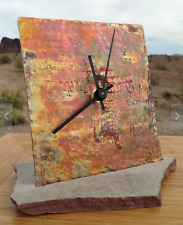 Reclaimed Copper Shelf Mantel Clock, Rustic Fired & Textured, Hand-Forged, OOAK