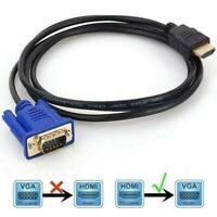 Câble Adaptateur HDMI Mâle vers VGA Mâle Vidéo Câble Cordon 1080p HDTV Neuf