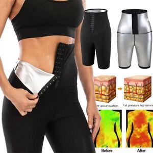Women Sauna Pants Body Shaper Yoga Leggings Hot Sweat Fitness Breasted Shorts UK