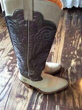 FRYE Mustang Stitch Tall Boots Cream & Metallic Grey Leather