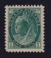 Canada Sc #75v (1898) 1c deep green Numeral on Thick Paper Mint VF NH MNH