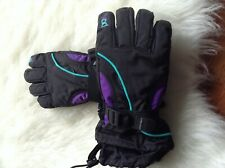 Womans Head Snowboarding Skiing Purple Teal Black Gloves Medium