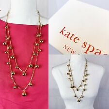 Double Layer Necklace Nwt With Box Kate Spade Gold Tone Ball Rhinestone