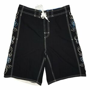 Speedo Black Hawaiian Plumeria Floral Beach Board Shorts Men's Small