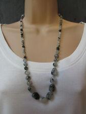 Lola Rose Clear Grey Multi Semi Precious Stones Necklace & Pouch    NEW