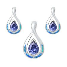 Pear Shape Tanzanite & Blue Opal Earrings & Pendant Set .925 Sterling Silver Ear