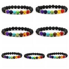 Wholesale 7 PCS Black Lava Rock Beads 7 Chakra Healing Balance Reiki  Bracelets