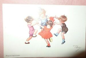 OLD VINTAGE POSTCARD ARTIST SIGNED CHICKY SPARK  RING A RING A ROSES #619 1922