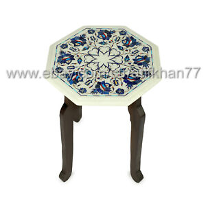 Marble Inlay Side Table Modern Sofa Corner Table for Living Room Decor