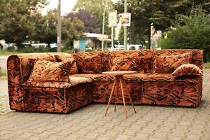 TRUE VINTAGE 70er-Inferno große Couch Sitzlandschaft orange floral Samt modular