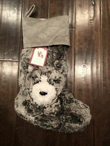 NWT Pottery Barn Kids Faux Fur Gray Wolf soft Christmas Stocking No Mono Ever