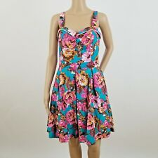 BEACH BASH Blue Floral Retro Dress LARGE Vintage Pin-Up Rockabilly Summer