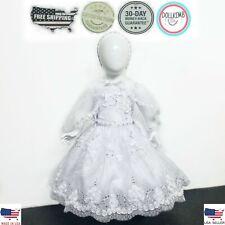 VESTIDO BLANCO DE BAUTIZO PARA NIÑA. BEBE. Baby Girl Christening Dress. 0-6 YEAR
