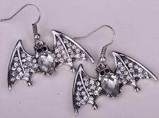 Bat bird dangle earrings halloween party jewelry gifts for women EA01 silver