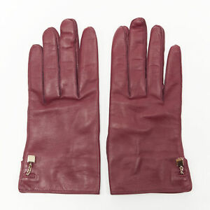 LOUIS VUITTON red leather gold LV dice button short riding gloves 7.5 M