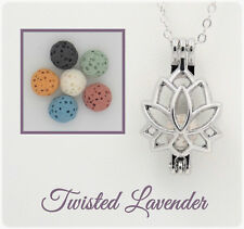 Lotus Flower Aromatherapy Essential Oil Diffuser Necklace with 6 lava stones!