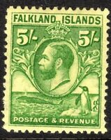 Falkland Islands 1929 green on yellow 5/- mint  SG124