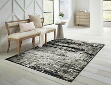 Modern Area Rugs for Living Room 8x10 Black/Navy Gray Dining Room Carpet 5x7