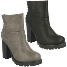 LADIES SPOT ON CHELSEA CHUNKY BLACK GREY BLOCK HEEL ZIP ANKLE BOOTS F50377