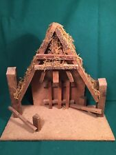 """Wood Stable for 5"""" Fontanini Nativity Creche No markings Lighted"""