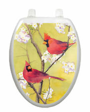 Toilet Tattoos Toilet Lid Cover Bird Decor Cardinals Flowers Lid  Vinyl Reusable