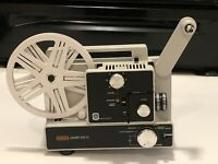 Eumig Mark 610 D Vintage White Super 8 Projector. Tested. FOR PARTS ONLY.