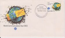 (V3-90) 1983 AU FDC 27c world communications (toning)(CX)
