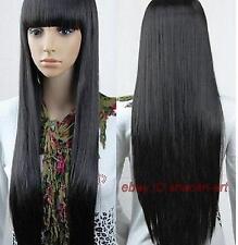 Haute qualité ! noir longue raide perruque de cheveux, cosplay Costume perruques
