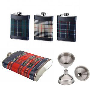 Hip Flask 8oz Tartan Stainless Steel Christmas Gift Whiskey liquor Scotland Gin