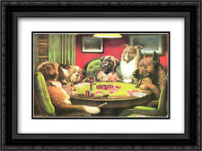 Dogs Playing Poker 2x Matted 22x16 Framed Art by Cassius Marcellus Coolidge