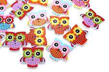 Owl Wooden Button Sew Through Animal Bird Wood Bead Colorful Baby Children 20pcs